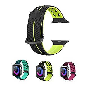 Silicone Band for Apple Watch Series 3 38mm 42mm, QQDS for Apple Watch Band Sport iWatch Band Replacement Sport Band iWatch Strap for Apple Watch Series 3 Series 2 Series 1 Women men (black, 38mm)