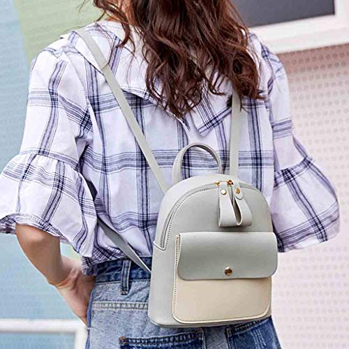 Backpack, Women Teen Girls Fashion Color Block Mini Travel Backpack Messenger Bags Shoulder Bags Satchel Daypack (Gray) by Challyhope Backpack Purse (Image #1)