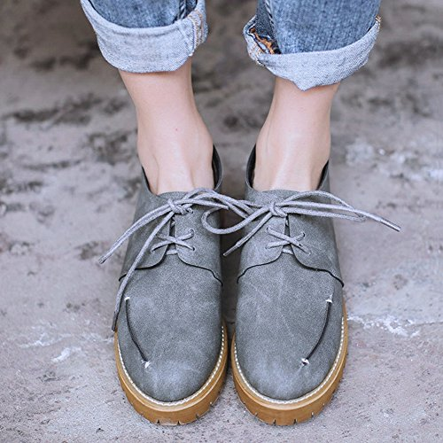 GIY Womens Lace Up Flat Oxford Shoes Vintage Lightweight Waterproof Classic Casual Shoes Grey kSJum