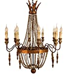 BELROSE FRENCH COUNTRY 10 LIGHT IRON AND WOOD BEADS CHANDELIER