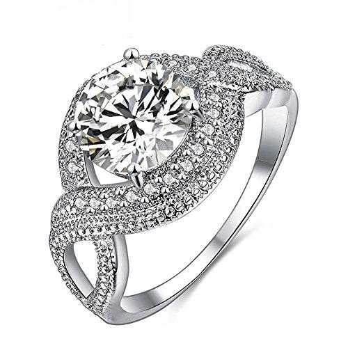(Darin Ladies Platinum Ring,Overlapping Diamond Rings (7,)