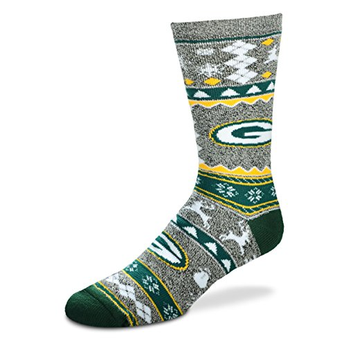 For Bare Feet Ugly Christmas Holiday Sock - Green Bay Packers (Large)