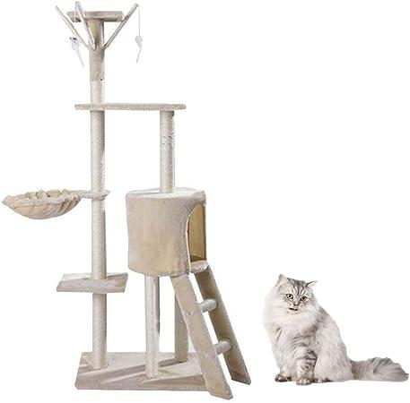 SHIJINHAO-Árbol de gato ,138cm De Alto Plataforma Multicapa Condominio Escalera Torre con Hamaca Columna De Sisal Estante Móvil Grande, 3 Colores. (Color : Beige, Size : 48x34x138cm): Amazon.es: Hogar
