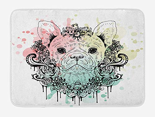 TAQATS Animal Bath Mat, French Bulldog with Floral Wreath on Brushstroke Watercolor Print, Plush Bathroom Decor Mat with Non Slip Backing, 23.6 W X 15.7 W Inches, Mint Pale Pink Pale Green ()