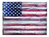 G. Debrekht American Flag Wooden Board Art, 9 x 12''