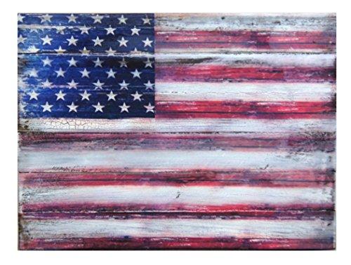 G. Debrekht American Flag Wooden Board Art, 9 x 12'' by G. Debrekht