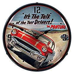 1956 Pontiac It's The Talk of The Test Drivers! LED Wall Clock, Retro/Vintage, Lighted, 14 inch