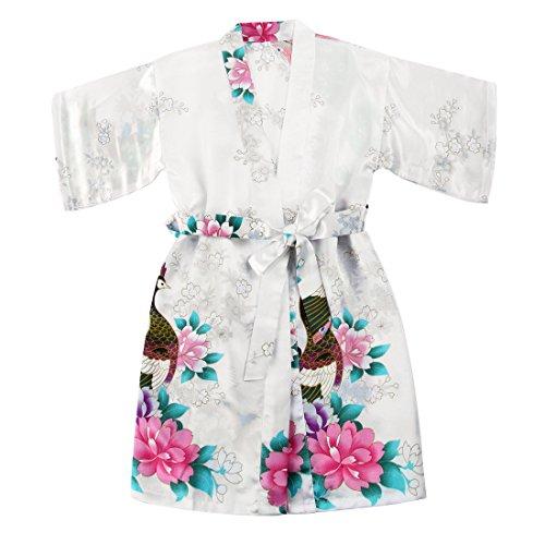 WonderFit Girls Stain Kimono Peacock Flower Robe for Spa Wedding Birthday White 7-8