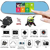 ZIYUO Quad Core Android 4.0 Car Rearview Mirror GPS,5.0'' TFT HD capacitive touch screen,1080P Car DVR,Dual Lens dash Camera
