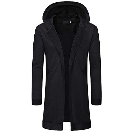 Amazoncom Timemeans Men New Solid Trench Jacket Packwork Cardigan