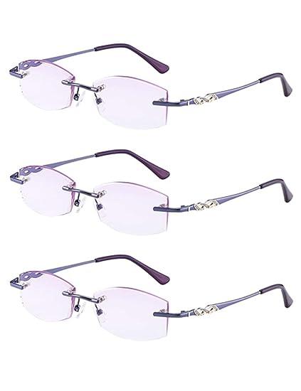 9c76908fb45 3-Pack Purple Rimless Lightweight Womens Reading Glasses Eyewear - Vogue  Women Durable Spring Hinge Readers Zhhlaixing  Amazon.co.uk  Clothing