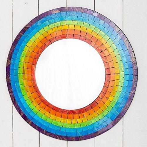 ROUND RAINBOW MOSAIC WALL MIRROR 60CM