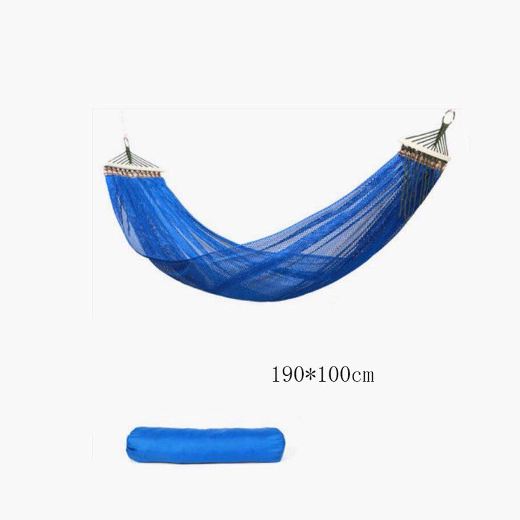Hängematte Outdoor Hängematte Camping Camping Schaukel Hängematte Bergsteigen Hängematte blau Mesh Polyester Hängematte portable Hängematte (Aufbewahrungsbeutel  1, Gurtband  1, hängenden Haken  1), (190  100cm)