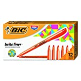 BIC Brite Liner Highlighter, Chisel Tip, Orange, 12-Count