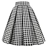 Dresstore Vintage Pleated Skirt Floral A-line Printed Midi Skirts with Pockets Black-White-Plaid-3XL