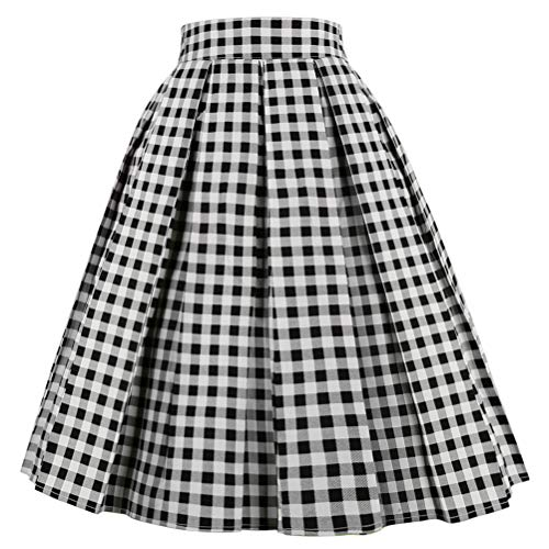 Dresstore Vintage Pleated Skirt Floral A-line Printed Midi Skirts with Pockets Black-White-Plaid-XL]()