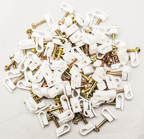 - 1000 Pcs Single Coaxial Cable Clips, Cat6, Electrical Wire Cable Clip, 1/4 in (6 mm) Screw Clip Fastener, White (100 Pieces per Bag)