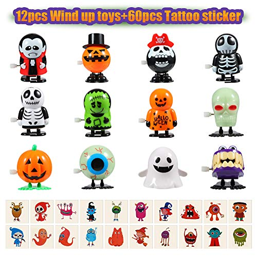 Halloween Twister Costume (Twister.CK Halloween Wind Up Toys 12 pcs and Temporary Tattoo 60 pcs for Kids, Halloween Toy Assortments,Party Favors, Goody Bag Filler, Boys Girls Children Birthdays)
