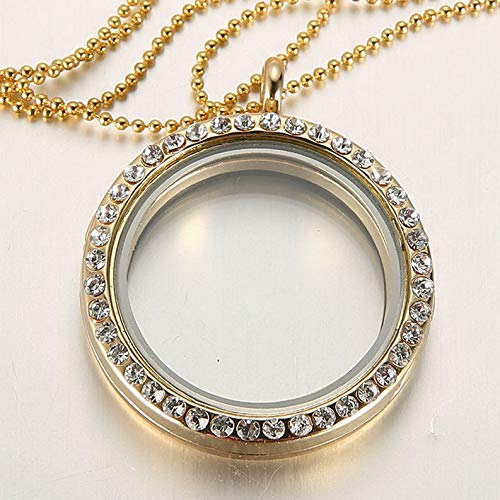 Kaputar Living Memory Floating Charm Crystal Glass Round Locket Pendant Necklace Charms | Model NCKLCS - 16355 | ()