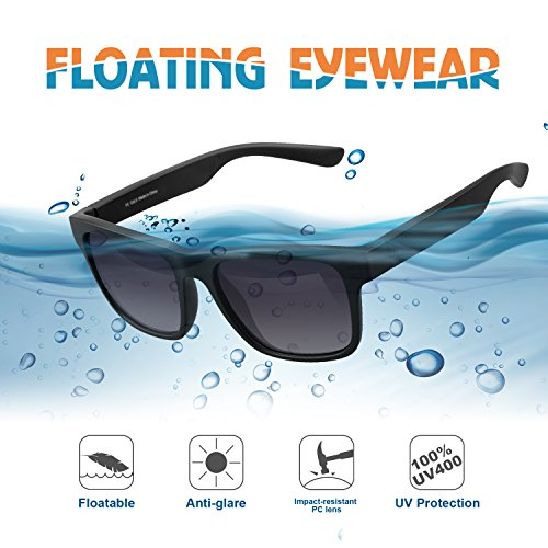 LUXEAR Sports Sunglasses Floating Glasses, Driving Sunglasses Lightweight Unbreakable Floatable, Men Women Sunglasses for Water Activities, Surfing, Boating, Fishing, Running, Cycling. Black