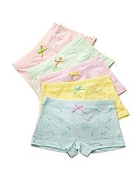 Girls' Boyshort Hipster Panties Cotton Panty Underwear (Pack of 5)