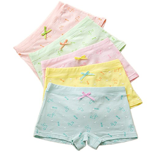CzBonjour Girls' Boyshort Hipster Panties Cotton Panty Underwear (Pack Of 5) (6-8 Years, (Hipster Boyshort)