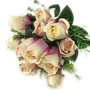 DALAMODA 2 Bundles 14 heads Rose bud Artificial Flowers Bouquet-Fake Flowers Silk Plastic Artificial Roses Pack of 2pcs (Blush-Pink) 36