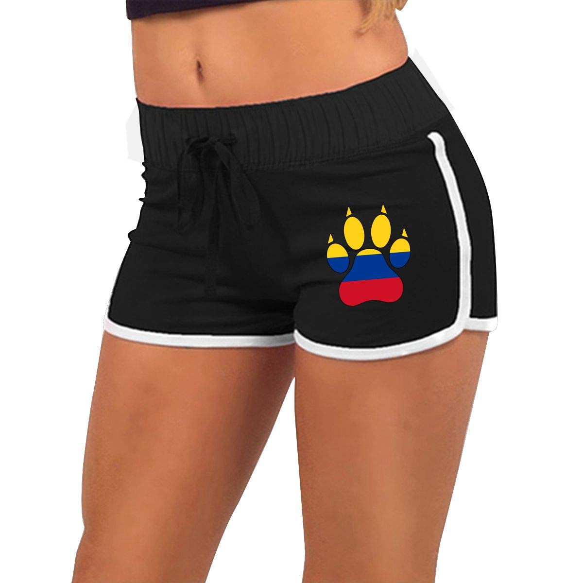 Low Waist Colombia Flag Dog Paw Shorts Womens Slim Fit Beach Shorts