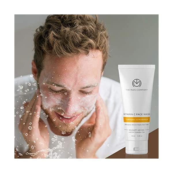 The Man Company Vitamin C Face Wash with Turmeric and Moringa | Skin Brightening and Anti Ageing | 100ml | Paraben & SLS… 2021 July Anti-ageing properties : Vitamin C boosts collagen production which improves skin texture and helps to reduce fine lines and wrinkles. Damage Control: It helps fight damage from exposure to the sun and pollution. Skin Brightening: Turmeric is anti-inflammatory and calms the pores and skin with added skin brightening properties