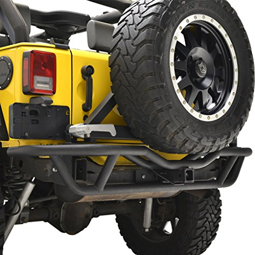 E-Autogrilles Rear Tube Bumper with Tire Carrier for Jeep Wrangler JK