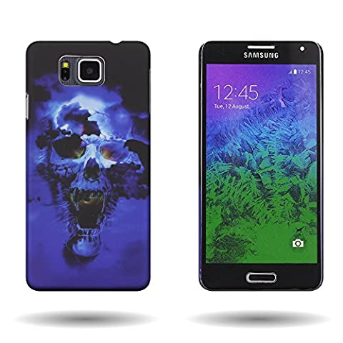Galaxy Alpha Case (Blue Skull) Cool Design CoverON 1pc Slim Protective Back Plate Hard Phone Cover for Samsung Galaxy Alpha (Galaxy Sll Phone Charger)
