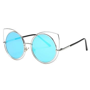 Lunettes de soleil,LHWY Femmes hommes à la mode Big frame lunettes de soleil classique (Or, E)