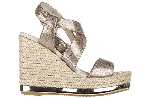 Hogan Compensées Escarpins Chaussures Sandales Femme Cuir hyuta h286 Or
