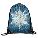 Snowflake Pattern Drawstring Bags Portable Backpack Yoga Runner Daypack