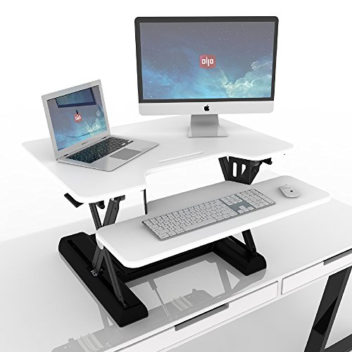 OLLO: Variable height, sit-stand workstation with gas spring power, 30'' wide, 4.4-17.5'' lift (OD-30 White) by OLLO (Image #3)