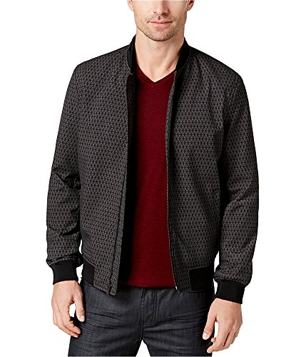 (Alfani Mens Printed Bomber Jacket, Grey, Large )