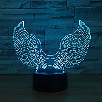 BFMBCHDJ Angel Wing 3D LED Lámpara USB Powered Colorful Touch 3D ...