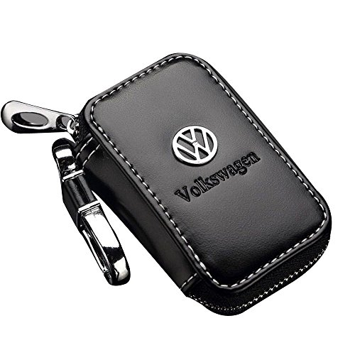 Black Key chain Bag Leather Ring Holder Case Car Auto Coin Universal Remote Smart Key cover Fob Alarm Security Zipper keychain Wallet Bag (VW(Volkswagen)) (Leather Auto Key Ring)