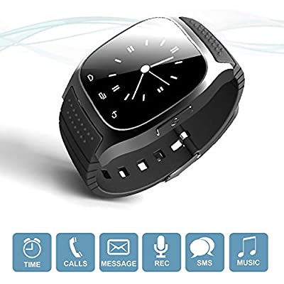 Wireless Bluetooth Smart Watch Fitness Wrist Watch w/ Anti-lost alarm for iPhone, Samsung, HTC (Black)