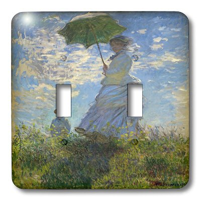 3dRose lsp_49371_2 Double Toggle Switch with Woman with a Parasol Monet