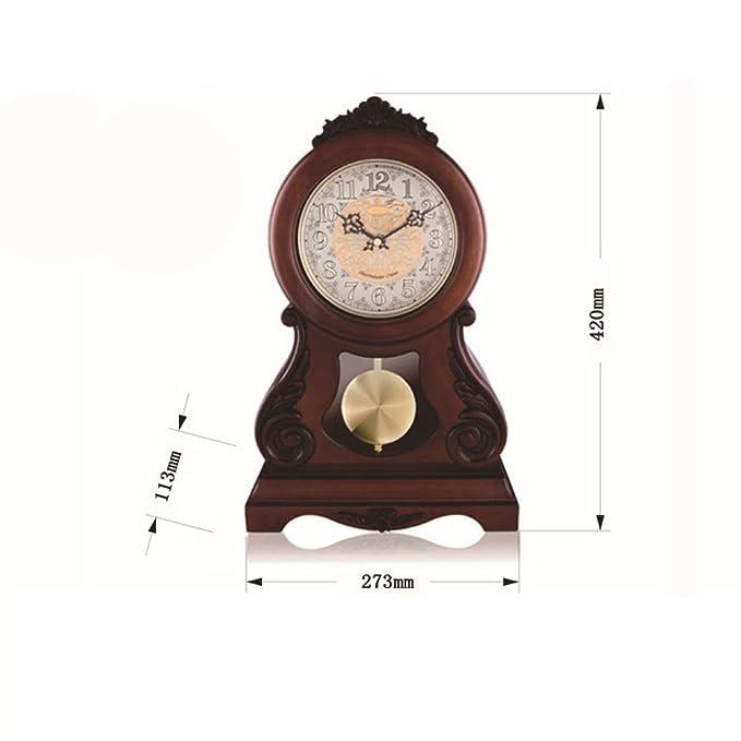 XYQS Creativo Reloj de péndulo Antiguos números arábigos de una Cara Escritorio Redondo Simple Reloj Despertador Reloj de Soporte de Mudo Reloj de Mesa ...