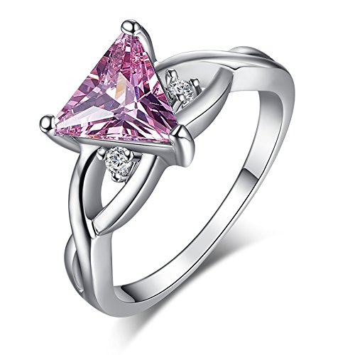Silver Trillion Ring (Psiroy 925 Sterling Silver Trillion Cut Created Pink Topaz Filled Twisted Knot Engagement Ring)