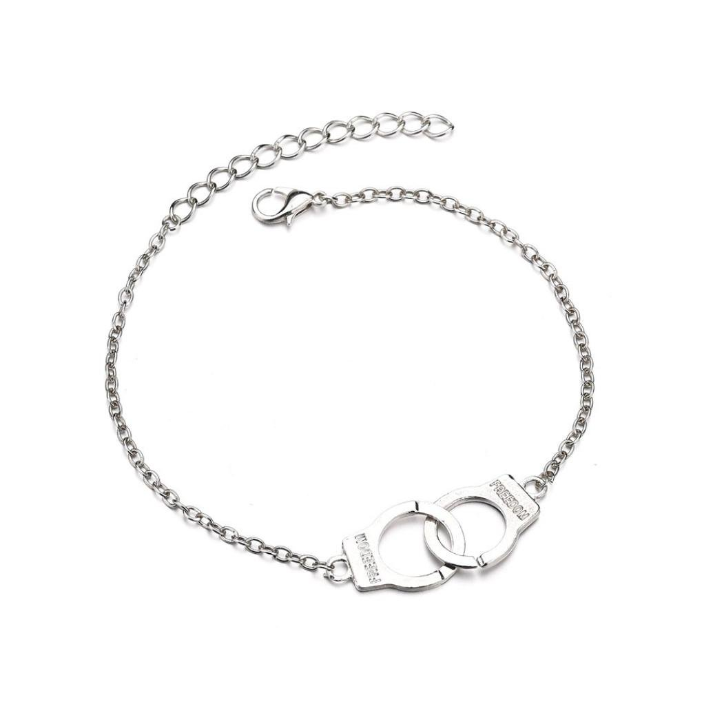Gyoume Women Foot Chain Anklet Gold Silver Ankle Bracelet Women Anklet Adjustable Chain Foot Beach (Sliver)