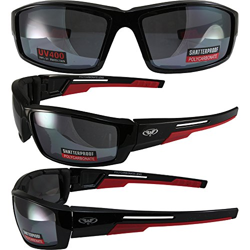 Global Vision Sly Padded Motorcycle Sunglasses Gloss Black Frames with Red Double Injection Rubber on Temples Flash Mirror Lenses