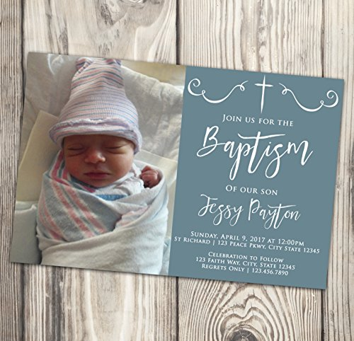 Baptism Invitation - Blue and White First Communion Invite - Naming Day - Christening - Confirmation - Photo - 4x6 - First Communion Photo Invitations