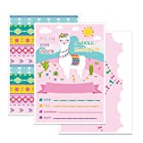 WERNNSAI Llama Party Invitations with Envelopes - 20 Set Double Sided Large Birthday Baby Shower Luau Party Supplies Invitation Cards for Girls