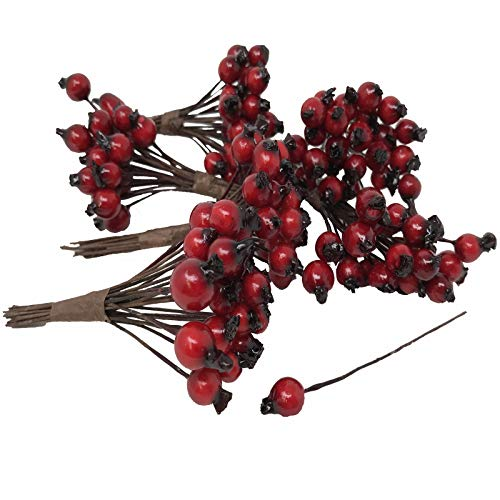 """Floristrywarehouse Artificial Red Rosehip Berries 1/4"""" (x144) Alternative to Christmas Holly Berries"""
