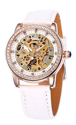 Fashion Casual Sports Women Luxury Automatic Mechanical Skeleton Rhinestone Leather Strap Girls Watches (White Rose (Automatic Leather Ladies Watch)