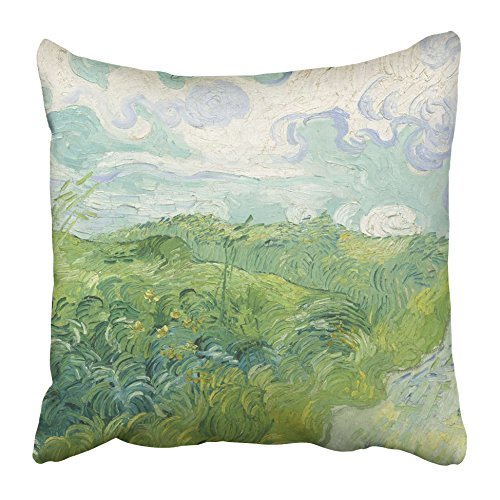 Emvency Decorative Throw Pillow Covers Cases Green Wheat Fields Auvers By Vincent Van Gogh 1890 Dutch Post Impressionist Painting Oil on Canvas 18x18 Inches Pillowcases Case Cover Cushion Two Sided -
