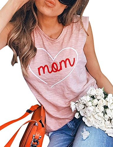 Heart Sleeveless (ZXZY Women Summer Casual Mom Letter Heart Print Shirts Sleeveless Tank Tops Tee)